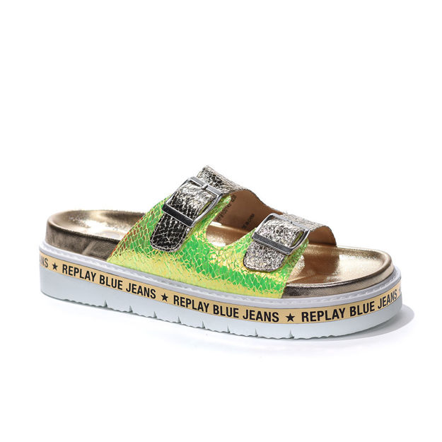 Slika Ženske papuče Replay DUDLEVILLE platin green